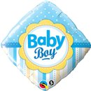 Balon Folie 45 cm Patrata Baby Boy cu Buline si Dungi, Qualatex 14637