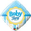 "Diamond Baby Boy Dots & Stripes Foil Balloon, Qualatex, 18"", 14637"