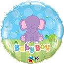 Balon Folie 45 cm Baby Boy Elefantel, Qualatex 13916