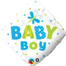 "Baby Boy Dots & Dragonfly Foil Balloon - 18"", Qualatex 14666"