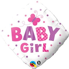 Balon Folie 45 cm Diamond Baby Girl Fluture, Qualatex 14659
