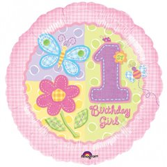 Balon folie 45cm 1st Birthday Girl, Amscan 111013-01