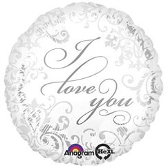 Balon folie 45cm argintie I Love You, Amscan 21976