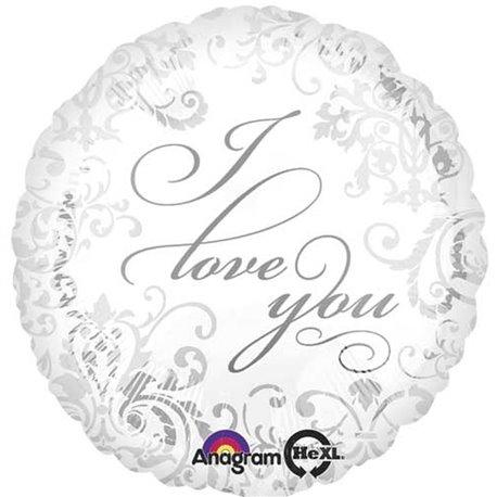 "I Love You Silver Foil Balloon, Amscan, 18"", 21976"