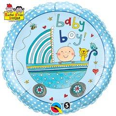 """Balon Folie 45 cm """"Baby Boy"""", Qualatex 50253"""