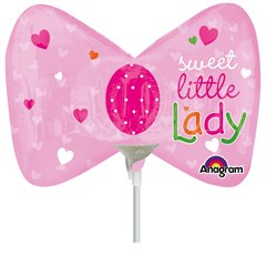 Balon mini figurina papion Little Princess - 23cm, umflat + bat si rozeta, Amscan 2886502