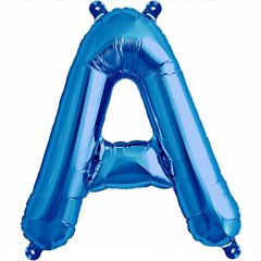 "16""/41 cm Blue Letter A Shaped Foil Balloon, Qualatex 59382"