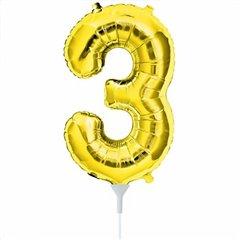 Balon folie cifra 3 auriu - 41cm, Amscan 33081