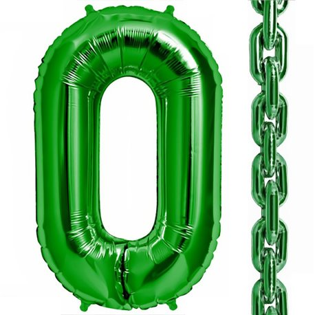 "34""/86 cm Green Deco Link Shaped Foil Balloons, Northstar Balloons 00464, 1 piece"