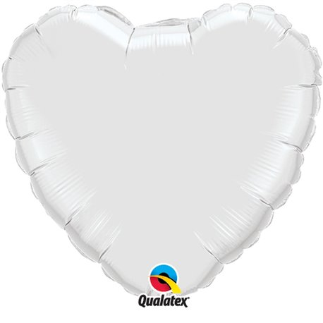 "Metallic White Heart Foil Balloon - 18""/45 cm, Qualatex 23762, 1 piece"