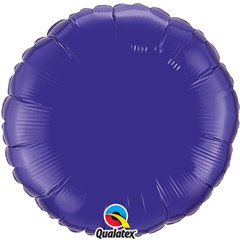 Balon folie Quartz Purple metalizat rotund - 45 cm, Qualatex 12922, 1 buc