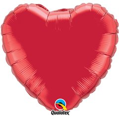 "Metallic Ruby Red Heart Foil Balloon - 18""/45 cm, Qualatex 23769, 1 piece"