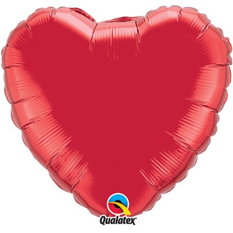 Balon folie Ruby Red metalizat in forma de inima - 45 cm, Qualatex 23769, 1 buc