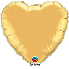 "Metallic Gold Heart Foil Balloon - 18""/45 cm, Qualatex 35432, 1 piece"