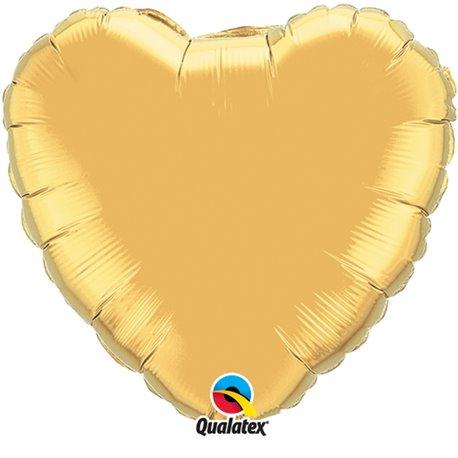Balon folie auriu metalizat in forma de inima - 45 cm, Qualatex 35432, 1 buc