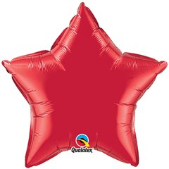 "Metallic Ruby Red Star Foil Balloon - 20""/50cm, Qualatex 12626, 1 piece"