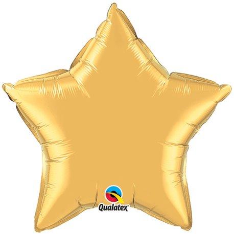 Balon folie auriu metalizat cu forma de stea - 91 cm, Qualatex 36498, 1 buc