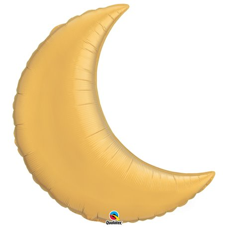 "Metallic Gold Crescent Moon Foil Balloon - 35""/89cm, Qualatex 36530, 1 piece"
