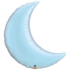 "Metallic Pearl Light Blue Crescent Moon Foil Balloon - 35""/89cm, Qualatex 74622, 1 piece"