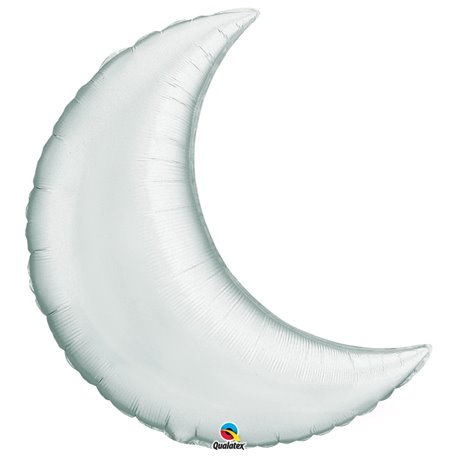 "Metallic Silver Crescent Moon Foil Balloon - 35""/89cm, Qualatex 36531, 1 piece"