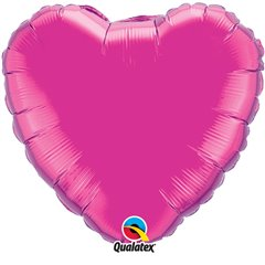 Balon folie Magenta metalizat in forma de inima - 45 cm, Qualatex 99335, 1 buc