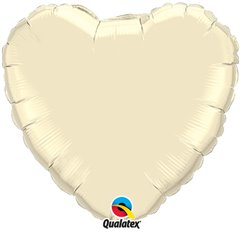 "Metallic Pearl Ivory Heart Foil Balloon - 36""/91 cm, Qualatex 74627, 1 piece"