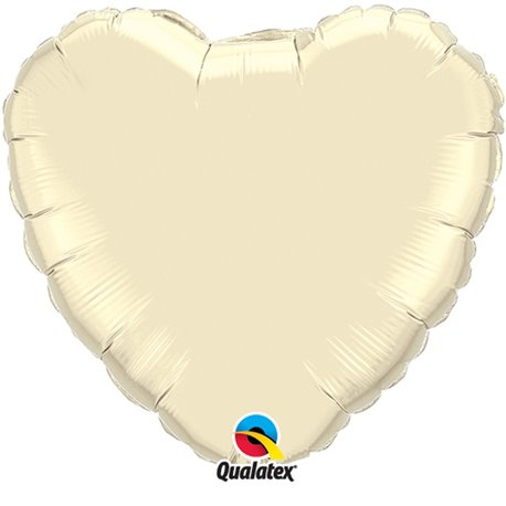 Balon folie Pearl Ivory metalizat in forma de inima - 91 cm, Qualatex 74627, 1 buc
