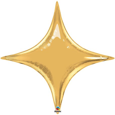 "Metallic Gold Starpoint Foil Balloon - 40""/102 cm, Qualatex 15565, 1 piece"