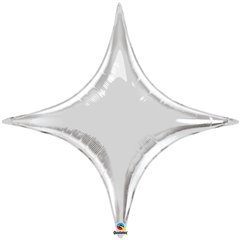 "Metallic Silver Starpoint Foil Balloon - 40""/102 cm, Qualatex 15707, 1 piece"