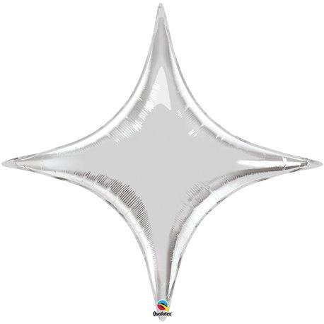 "Metallic Silver Starpoint Foil Balloon - 40""/102 cm, Qualatex 15707, 1 piece"