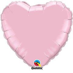 Balon folie metalizat inima pearl pink - 45cm, Qualatex 11855