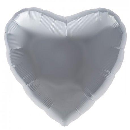 Balon folie argintiu metalizat in forma de inima - 45 cm, Northstar Balloons 00749, 1 buc