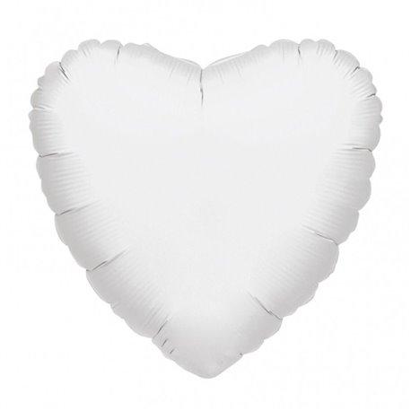 Balon folie alb metalizat in forma de inima - 45 cm, Amscan 21626-40, 1 buc