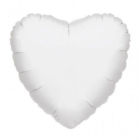 "Metallic White Heart Foil Balloon - 18""/45 cm, Amscan 21626-40, 1 piece"
