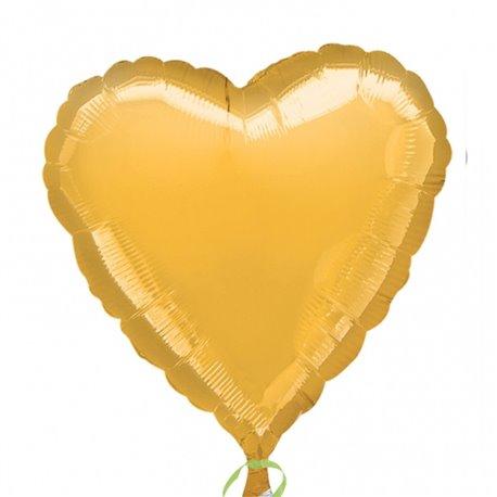 "Metallic Gold Heart Foil Balloon - 18""/45 cm, Amscan 21614-40, 1 piece"