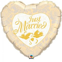 Balon folie inima Just Married - 91cm, Qualatex 32463