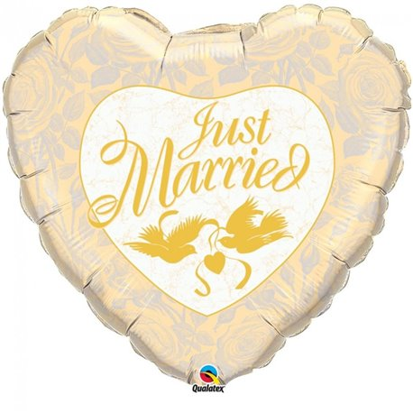 Balon Folie Inima Just Married, Qualatex,  91 cm , 32463