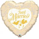 "Just Married Ivory & Gold Foil Balloon, Qualatex, 18"", 32463"