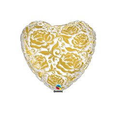 Balloons Crystal Roses & Flowers Gold, Qualatex, 24'', 81664