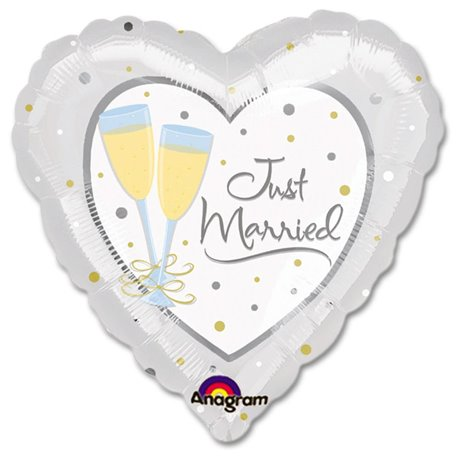 Balon Folie Inima - Just Married, Amscan, 81 cm, 11383