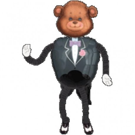 "Tuxedo Teddy Airwalker Balloon, Amscan, 57"", 04934"