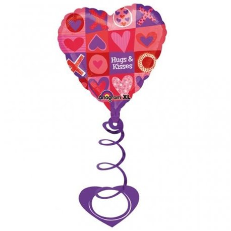 "Valentines Day Hugs & Kisses Coil Foil Balloon, Amscan, 26"", 14909"