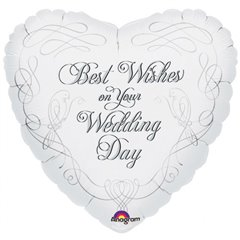 "Best Wishes on Your Wedding Day Foil Balloon - 18""/45cm, Amscan 13686"
