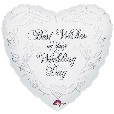 Balon Folie 45 cm Best Wishes on Your Wedding Day, Amscan 13686
