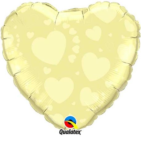 "Ivory on Ivory Heart Foil Balloon, Qualatex, 18"", 86874"