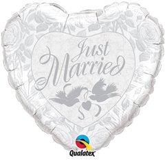 "Just Married Silver Heart Foil Balloon Wedding Decoration, Qualatex, 36"", 14253"