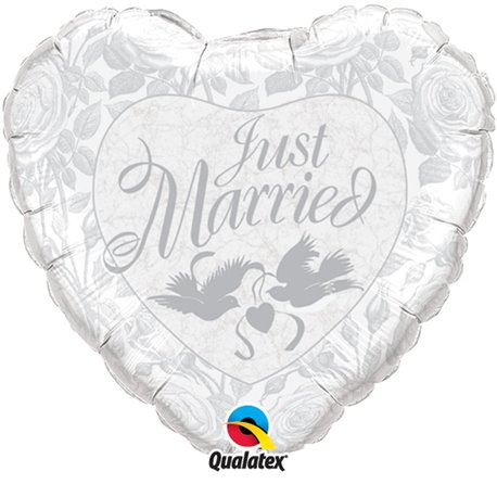 "Just Married Silver Heart Foil Balloon Wedding Decoration, Qualatex, 36"", 14253"
