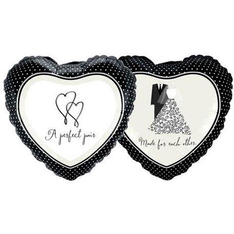 """A Perfect Pair Heart Foil Balloon, Qualatex, 18"""", 81823"""