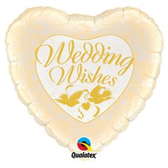 "Foil Balloon Wedding Wishes Doves & Roses, Qualatex, 18"", 48562"