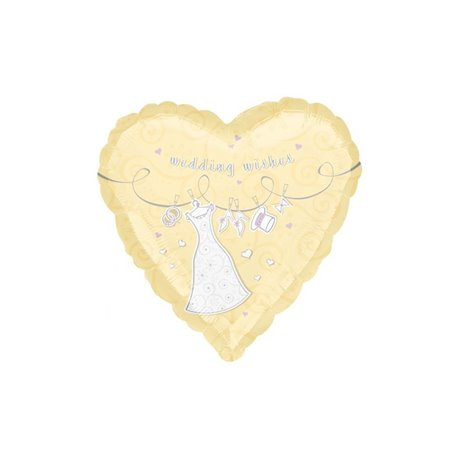 "Wedding Wishes & Swirls Foil Balloon - 18""/45cm, Amscan 16089"